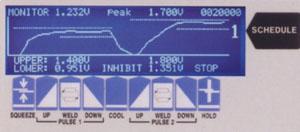画面に表示される溶接波形